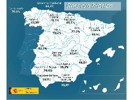 La reserva hídrica española se encuentra al 55,4 por ciento de su capacidad