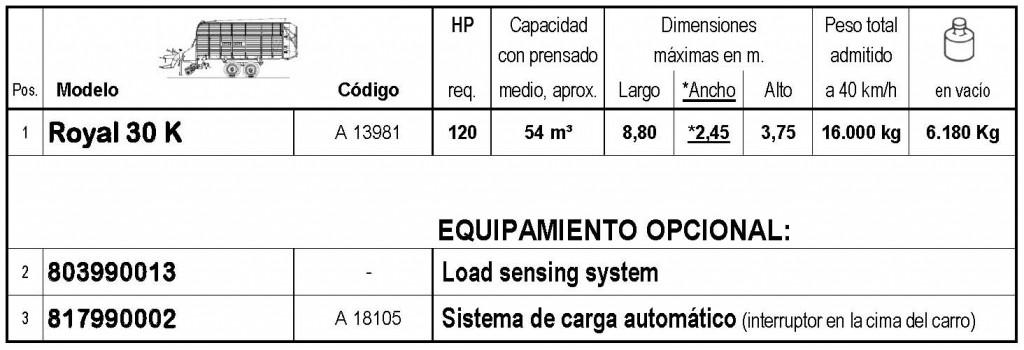 Bergmann > ROYAL 30 K - 54 m³ - Pick-up 1,90 m. - eje tandem 16 Tons. - freno hidráulico - 8