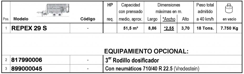 Bergmann > REPEX 29 S - 50,4 m³ - Pick-up 1,94 m. - eje tandem 18 Tons. - freno hidráulico - 8