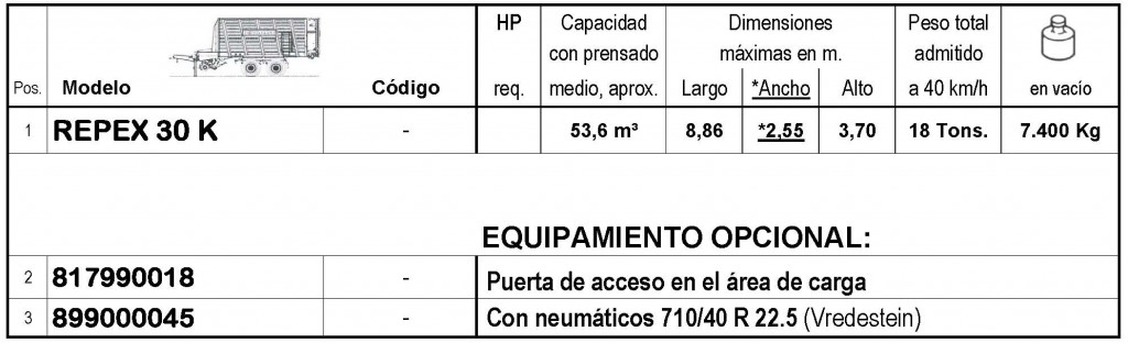 Bergmann > REPEX 30 K - 53,6 m³ - Pick-up 1,94 m. - eje tandem 18 Tons. - freno hidráulico - 8