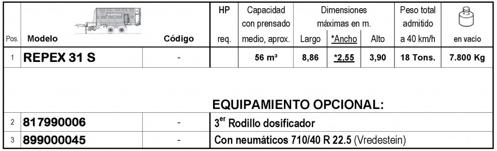 Bergmann > REPEX 31 S - 56 m³ - Pick-up 1,94 m. - eje tandem 18 Tons. - freno hidráulico - 8