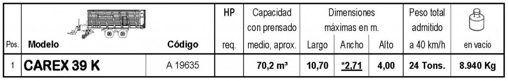 Bergmann > CAREX 39 K - 70,2 m³ - Pick-up 1,94 m. - eje tandem 24 Tons. - freno hidráulico - 8