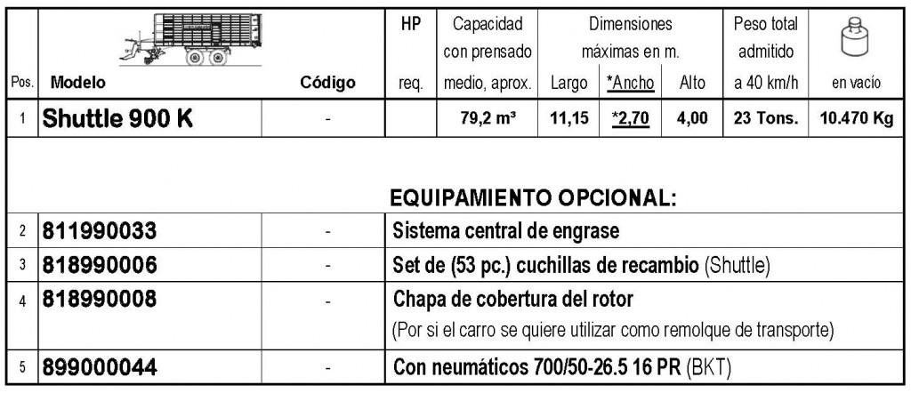 Bergmann > SHUTTLE 900 K - 79,2 m³ - Pick-up 2,27 m. - eje tandem 23 Tons. - freno hidráulico - 8
