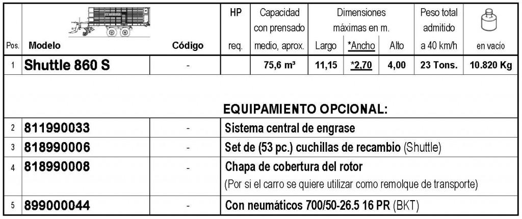 Bergmann > SHUTTLE 860 S - 75,6 m³ - Pick-up 2,27 m. - eje tandem 23 Tons. - freno hidráulico - 8