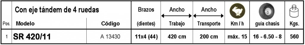 Sitrex Serie SR 420 / 11 Brazos > HILERADOR - 1 Rotor Ø 3,43 m. - 8