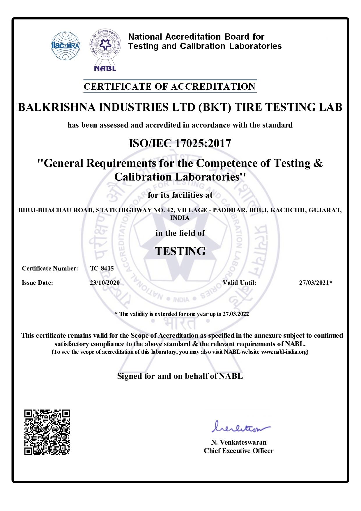BKT OBTIENE LA CERTIFICACIÓN ISO/IEC 17025:2017. - 1