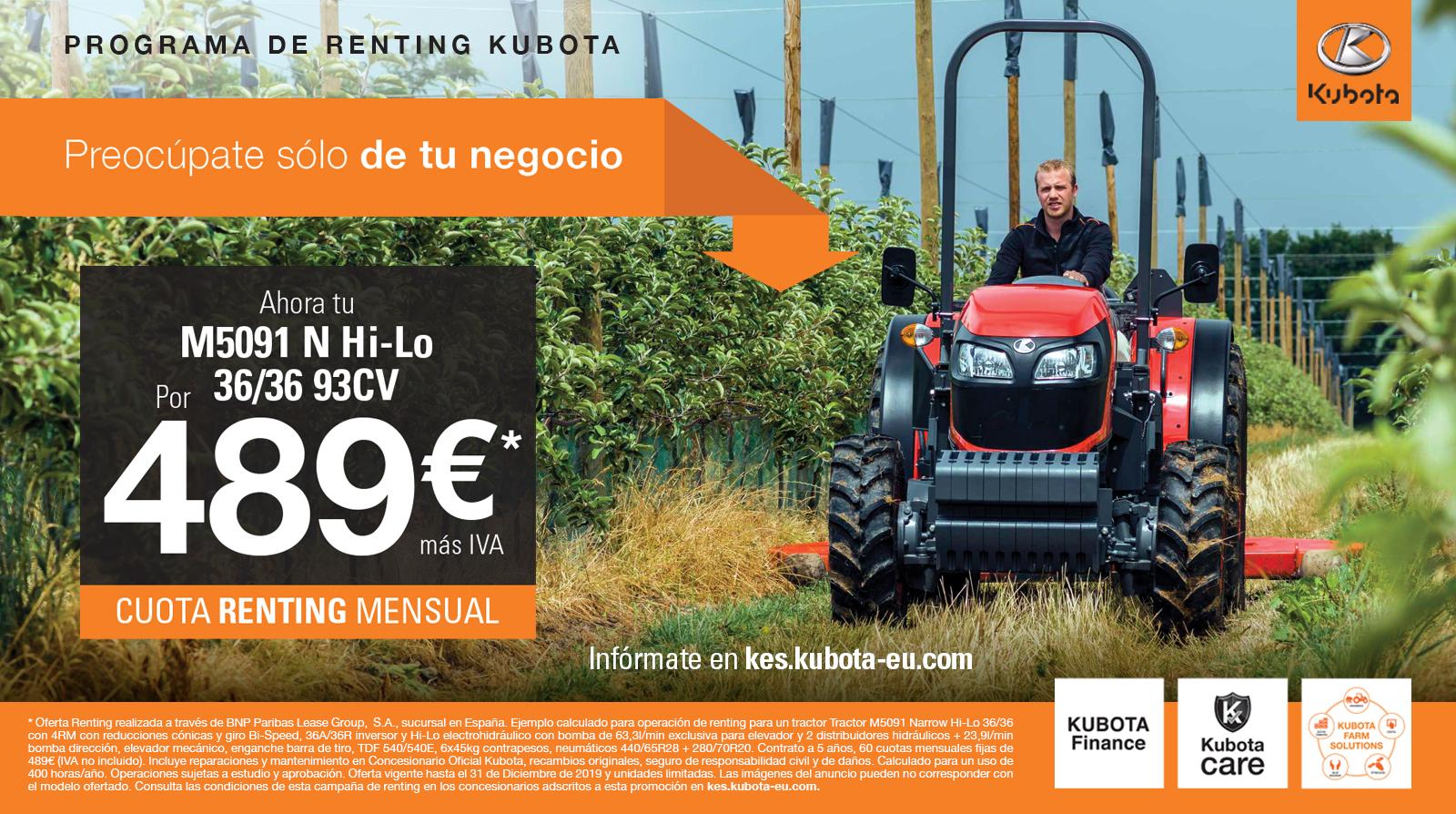 Kubota España y BNP Paribas Leasing Solutions llegan a un acuerdo para sacar el primer programa de renting con mantenimiento.  - 1