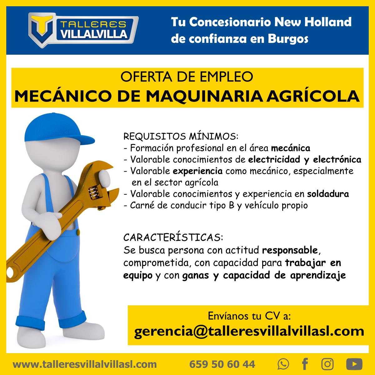 OFERTA DE EMPLEO | MECÁNICO DE MAQUINARIA AGRÍCOLA