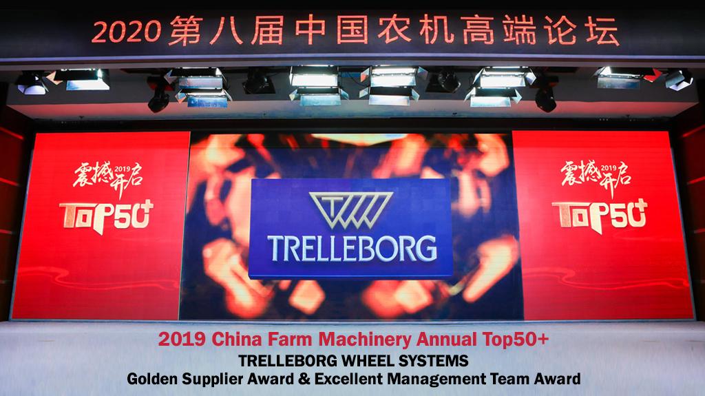 "Trelleborg gana el premio al proveedor de oro ""China Farm Machinery Annual TOP50 +"" por segundo año consecutivo"